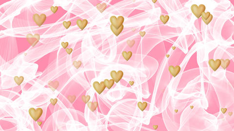 Wedding background, waving white veil on pink background, golden heart appearing Animación