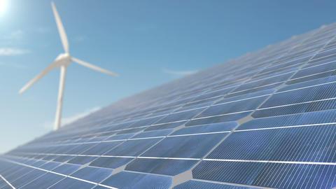 Animation of Wind Turbines and Solar Panel Footage