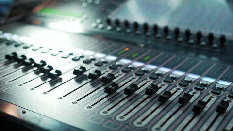 Music studio audio mixer. Digital Sound Mixer In The Studio. Close-up. DOF Live Action