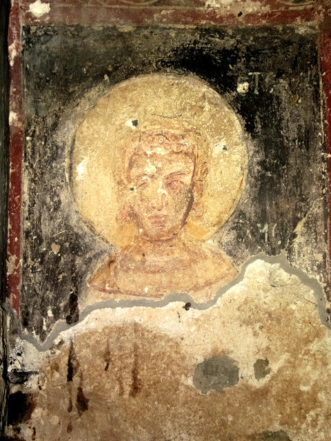 Face of the saint. Fresco of late medieval Orthodox Church, Bulgaria フォト