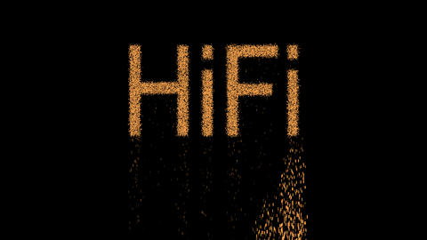 abbreviation HiFi appears from the sand, then crumbles. Alpha channel Animation