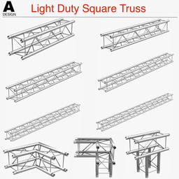 Light Duty Square Truss (Collection 9 Modular Pieces) 3Dモデル