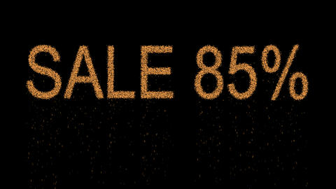 sale tag SALE 85% appears from the sand, then crumbles.…, Stock Animation