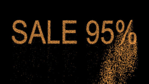 sale tag SALE 95% appears from the sand, then crumbles. Alpha channel Animation