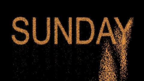 day of the week SUNDAY appears from the sand, then crumbles. Alpha channel Animation