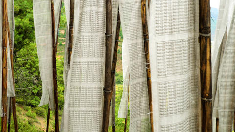 Buddhist Prayer Flags Blowing In The Wind Filmmaterial