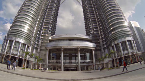 Petronas Twin Towers from an Upward Tilting Perspective Live Action