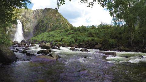 Kurkure waterfall. Altai Mountains Footage