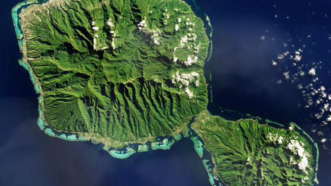 Point Venus (Tahiti) From Space. Elements Of This Image Furnished By Nasa Live Action
