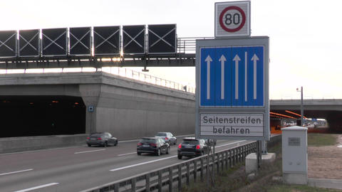 Dense traffic on German highway A3 Footage