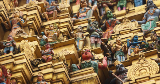 Pantheon of Hindu Deities in Miniature. inside a Sri Lankan Temple Live Action
