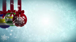 Looping baubles background with ice flakes Loads of copy space for additional Footage