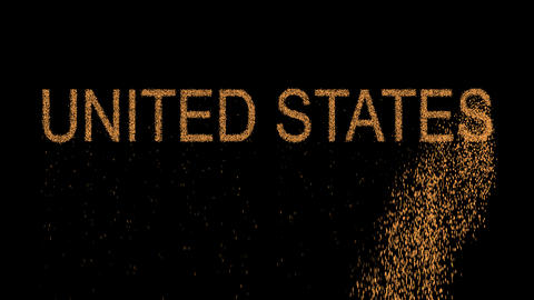 state UNITED STATES appears from the sand, then crumbles. Alpha channel Animation