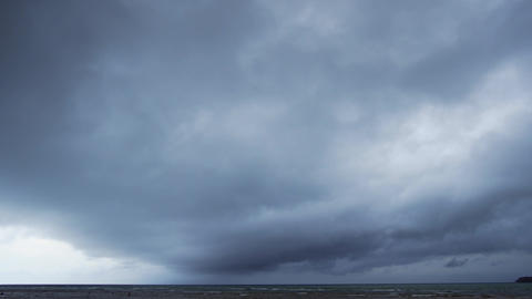 Dense Layer of Heavy. Gray Clouds Drifting Over. 4k footage 2160p Footage