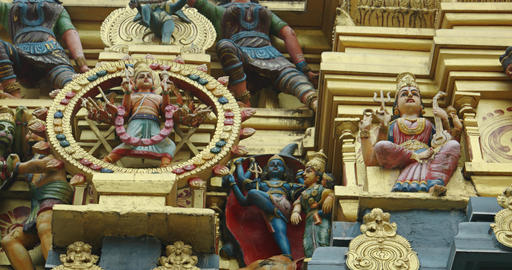 Pantheon of Miniature Hindu Gods on an Elaborate Altar Live Action