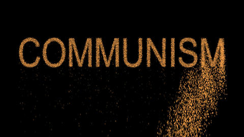 political system COMMUNISM appears from the sand, then crumbles. Alpha channel Animation