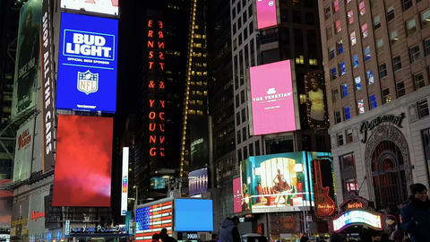 New York City, USA advertising billboards at Times Square Footage