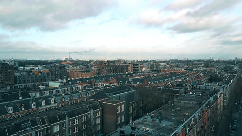 Aerial view of rooftops in Amsterdam, Netherlands Footage