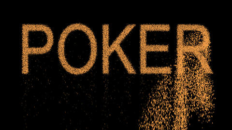 game POKER appears from the sand, then crumbles. Alpha channel Premultiplied - Animation