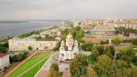Temple in honor of the Holy Great Martyr George the Victorious. Samara, Russia, Footage