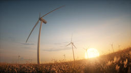 Wind turbines energy farm sunset landscape in the meadow field Foto