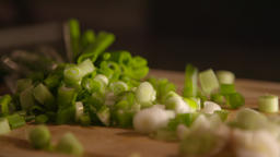 Chopped Spring Onions Slow Motion Archivo