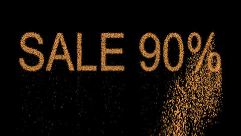 sale tag SALE 90% appears from the sand, then crumbles. Alpha channel Animation