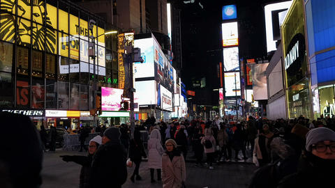New York City, USA advertising billboards with crowd at Times Square Footage