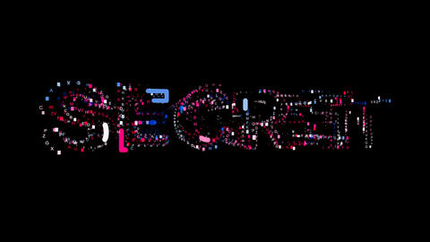 Letters are collected in text SECRET, then scattered into strips. Bright colors Animation