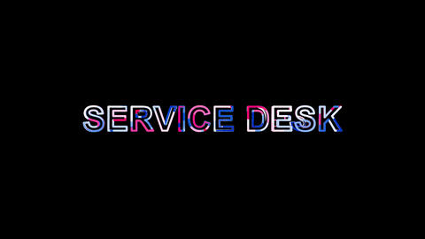 Letters are collected in text SERVICE DESK, then scattered into strips. Bright Animation