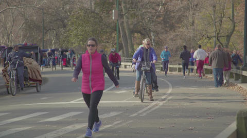 running a lot of people and horses in Central Park Footage