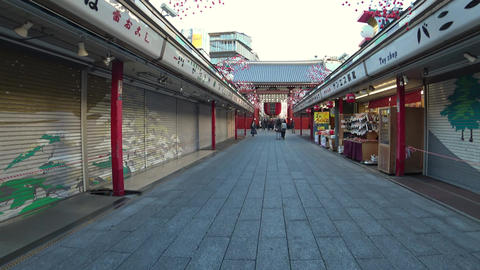 Shopping street or Nakamise of Sensoji temple, Tokyo Live Action
