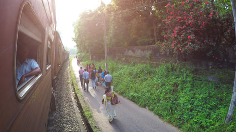 Old train on diesel traction. View from the window. Sri Lanka Live Action