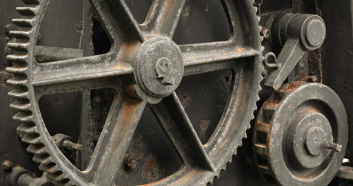 Gears and Wheels of a Steam Crane in Sri Lanka. 4k DCI footage Footage