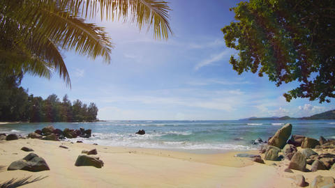 A small cozy sandy tropical beach without people. Thailand. Phuket Footage