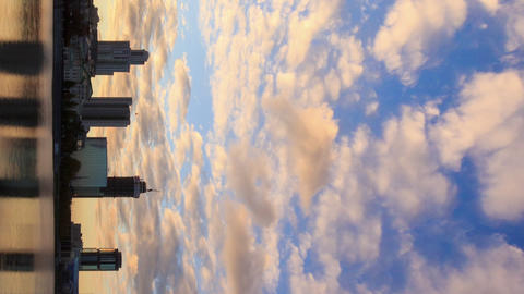Vertical video. Sunset on the waterfront. Ekaterinburg, Russia. Time Lapse Footage