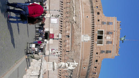 Vertical video. Rome, Italy - February 18, 2015: Castle and Bridge of San Angelo Footage