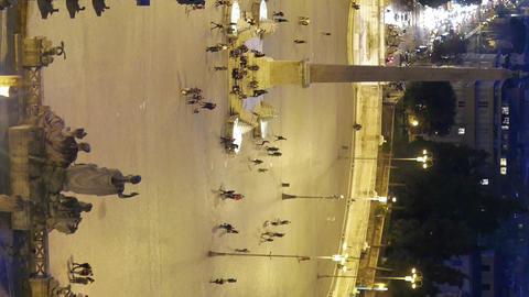 Vertical video. Piazza del Popolo. Night falls. Rome, Italy Footage