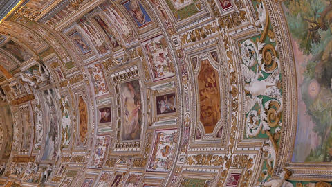 Vertical video. Vatican frescoes. VATICAN - February 19, 2015: The ceiling in Footage