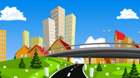 Vector cartoon city and highway with cars Animación