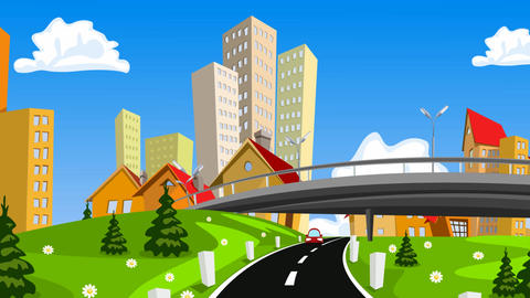 [alt video] Vector cartoon city and highway with cars