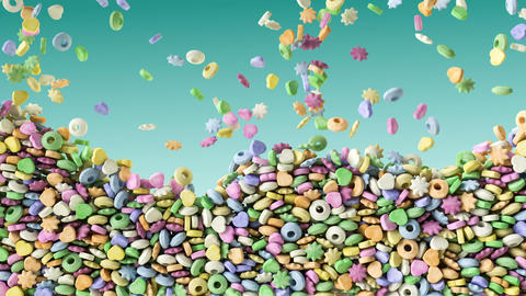 Colorful sweet fruit candies falling green background texture pattern Footage