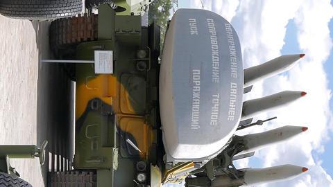 Vertical video. Antiaircraft missile launcher Buk. Pyshma, Ekaterinburg, Russia Footage