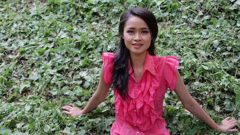 asian girl with mini skirt Stock Video Footage