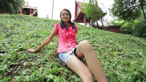 asian girl with mini skirt Footage