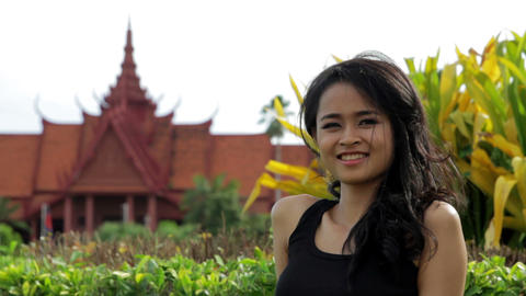 Cambodian attractive girl, national museum Stock Video Footage