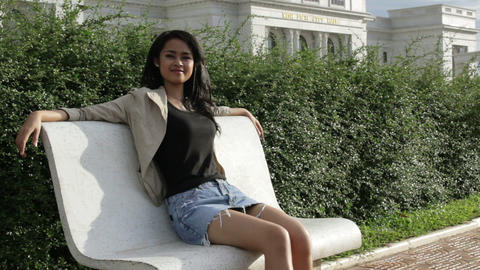 Cambodian girl at city hall Stock Video Footage