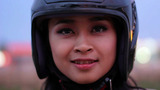 Gorgeous Asian Girl With Motorcycle stock footage