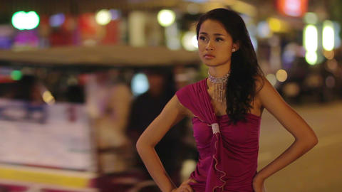 prostitute waiting costumer at night Stock Video Footage