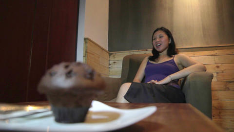 Young asian woman cake and diet Stock Video Footage